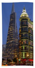 Columbus And Transamerica Buildings Beach Sheet by Jerry Fornarotto