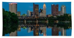 Columbus Ohio Night Skyline Photo Beach Sheet