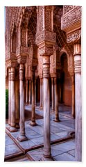 Columns Of The Court Of The Lions - Painting Beach Towel