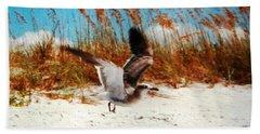 Windy Seagull Landing Beach Sheet by Belinda Lee