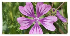 Beach Towel featuring the photograph Common Mallow Flower by George Atsametakis