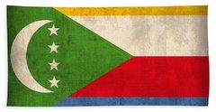 Comoros Flag Vintage Distressed Finish Beach Towel