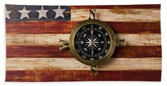 Compass On Wooden Folk Art Flag Beach Towel