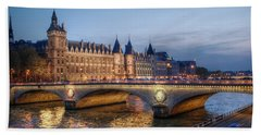 Beach Sheet featuring the photograph Conciergerie And Pont Napoleon At Twilight by Jennifer Ancker