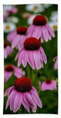 Coneflowers In Front Of Daisies Beach Towel