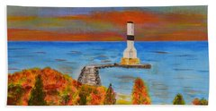 Beach Sheet featuring the painting Fall, Conneaut Ohio Light House by Melvin Turner