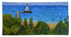 Beach Sheet featuring the painting Summer, Conneaut Ohio Lighthouse by Melvin Turner