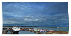 Container Docks At The Mouth Beach Towel
