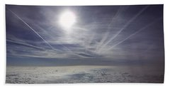 Contrail Panorama Beach Sheet by Greg Reed