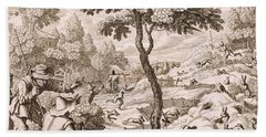 Cony Catching, Engraved By Wenceslaus Beach Towel