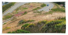 Beach Towel featuring the photograph Cool Drive On Twin Peaks - San Francisco by Connie Fox