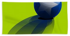Beach Towel featuring the digital art Blue Ball Decorated With Star Green Background by R Muirhead Art