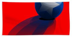 Beach Towel featuring the digital art Blue Ball Decorated With Star Red Background by R Muirhead Art