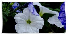 Beach Towel featuring the photograph Cool Summer Petunias by Wilma  Birdwell