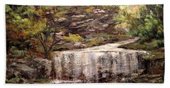 Beach Towel featuring the painting Cool Waterfall by Dorothy Maier