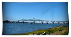 Beach Towel featuring the photograph Coos Bay Bridge by Nick Kloepping