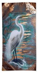 Copper Egret Beach Towel