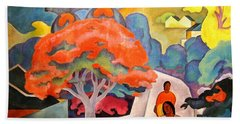 Beach Towel featuring the painting Coral Tree - Black Point Honolulu by Pg Reproductions