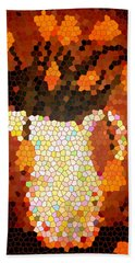 Coral Tulips In Stained Glass Beach Towel
