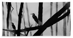 Cormorant And The Heron  Bw Beach Sheet