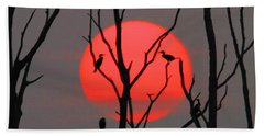 Cormorants At Sunrise Beach Towel by Roger Becker