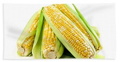 Corn Ears On White Background Beach Towel