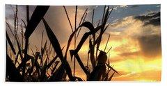 Cornfield Sundown Beach Towel by Angela Rath