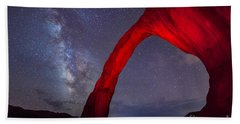 Corona Arch Milk Way Red Light Beach Towel