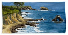Corona Del Mar California Beach Towel by Alice Leggett