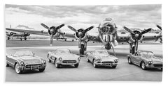 Corvettes And B17 Bomber -0027bw2 Beach Towel