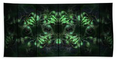 Cosmic Alien Eyes Green Beach Towel