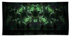 Beach Towel featuring the digital art Cosmic Alien Vixens Green by Shawn Dall