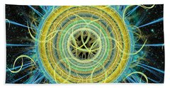 Beach Towel featuring the digital art Cosmic Circle Fusion by Shawn Dall
