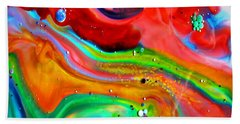 Beach Towel featuring the painting Cosmic Lights by Joyce Dickens