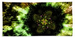 Beach Towel featuring the digital art Cosmic Solar Flower Fern Flare by Shawn Dall