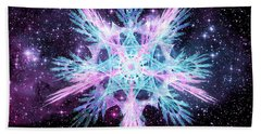 Beach Towel featuring the digital art Cosmic Starflower by Shawn Dall