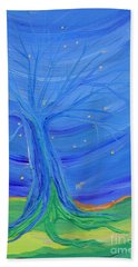 Beach Towel featuring the painting Cosmic Tree by First Star Art