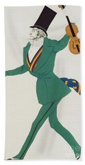 Costume Design For Paganini In The Enchanted Night Beach Towel