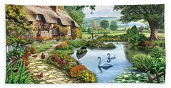 Cottage By The Lake Beach Towel