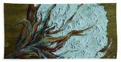 Cotton Boll On Wood Beach Sheet by Eloise Schneider