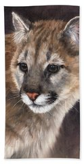 Cougar Cub Painting Beach Towel