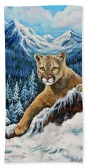 Beach Towel featuring the painting Cougar Sedona Red Rocks  by Bob and Nadine Johnston