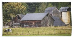 Beach Towel featuring the painting Country Art - Rustic Old Barns With Cow In The Pasture by Jordan Blackstone