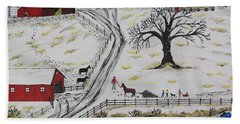 Country Christmas Tree Beach Towel by Jeffrey Koss