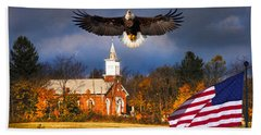 country Eagle Church Flag Patriotic Beach Sheet