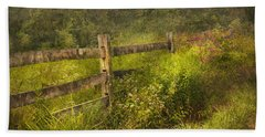 Country - Fence - County Border  Beach Towel