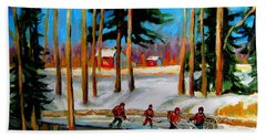 Country Hockey Rink Beach Sheet by Carole Spandau