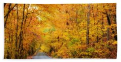 Country Road In Fall Beach Sheet