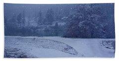 Country Snowstorm Landscape Art Prints Beach Towel