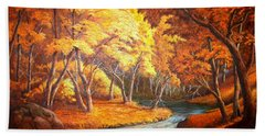Country Stream In The Fall Beach Sheet